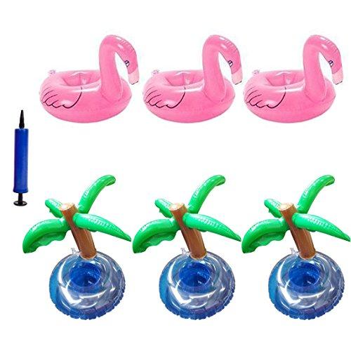 INNOBASE luftmatratze wasser 3 Aufblasbare Flamingo Untersetzer Palme Trink Halter mit Luftpumpe 3 Palme Aufblasbar Getränk Halter Rosa