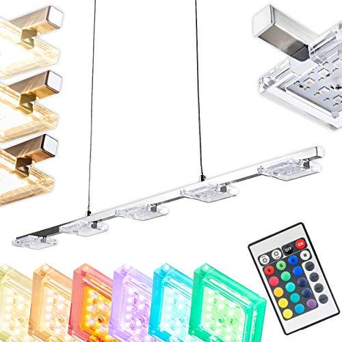 LED-Pendelleuchte 5-flammig Parnu aus Metall in Nickelmatt – Längliche Hängelampe 5-flammig mit RGB Farbwechsler – 3000 Kelvin – 1600Lumen – Pendellampe – LED Pendelleuchte Esstisch – Hängelampe