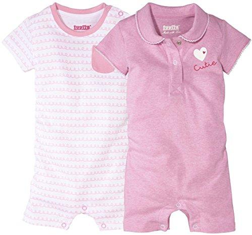 LUPILU® 2 Mädchen Baby-Schlafanzüge, kurz (rosa meliert, weiß -