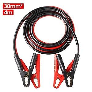 MVPower Cables de Arranque 6M 1500A 30mm² para 12V y 24V Incluye Guantes y Bolsa de Almacenamiento – CE para Automóviles…