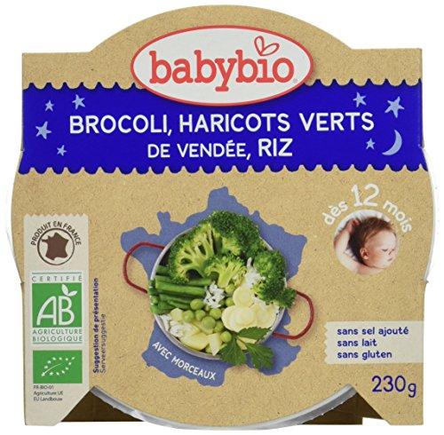 Babybio Assiette Brocoli/Haricots Verts de Vendée Riz 12+ Mois 230 g - Lot de 5