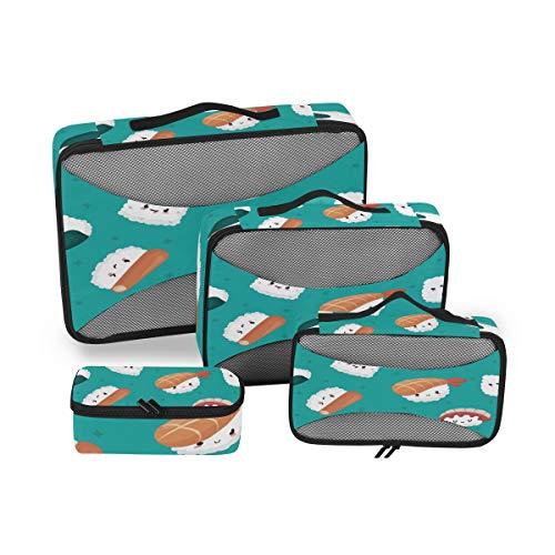 QMIN - Bolsa organizadora de equipaje de viaje Cubos de embalaje de viaje, 4 piezas: Cubo extra pequeño (23,5 x 10 x 8 cm). Cubo pequeño (28,5 x 17,5 x 8,5 cm). Cubo mediano (35,5 x 25,5 x 8,5 cm). Cubo grande (45,5 x 33 x 9 cm). Características: Dif...