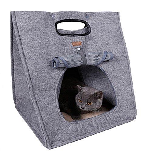 RANRANHOME Katze und Hund Tragbare Mode Haustier Bett Komfort Haus,Gray -