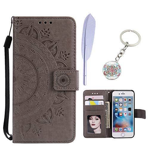KM-Panda Kompatibel für Apple iPhone X Leder Tasche Klapphülle Schutzhülle Handytasche Ledertasche Handyhülle Lederhülle Flip Case hülle mit Kartenfächer - Grau - Apple Iphone Schwarz Holster