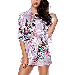 HonourSport Kimono Mujer Japones Vestido Corto Chaqueta Flores Seda Bata Talla Grande Novia Cosplay Saten Verano Pijama Morado Claro