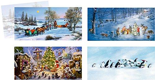 Coppenrath, Auswahl von kleinen freistehenden Adventskalender-Karten, 4Stück in verschiedenen Designs