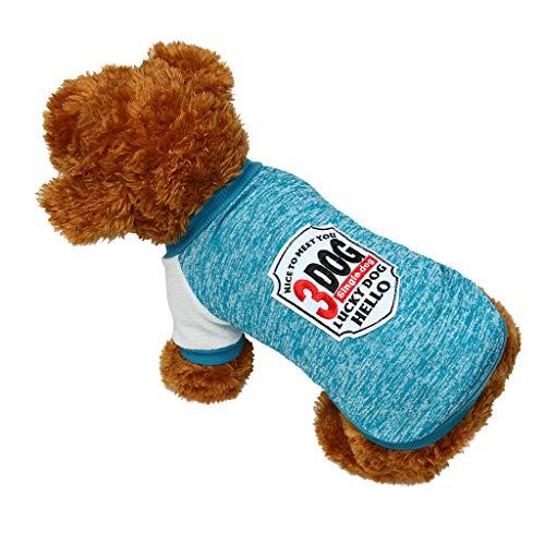 Geilisungren Ropa para Mascotas Perros pequeños Manga Larga, Verano Abrigo Disfraces Traje Camiseta Chaleco para Mascotas Ropa returom Perrito Camiseta del Animal Impresión de Rayas Camisetas Falda