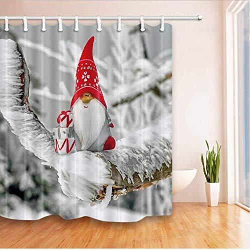 Yiciyici Basura Papá Noel en Las Ramas Lleno de Hielo Nieve Cortina de Ducha Tejido de poliéster Decoraciones de baño Cortinas de baño-200(H) x210(W)