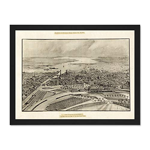 Doppelganger33 LTD Map Providence 1896 Vintage Picture Large Framed Art Print Poster Wall Decor 18x24 inch Supplied Ready to Hang - 1896 Vintage-print