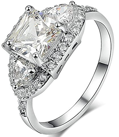 SaySure 18K White Gold Plated Luxury Anniversary Wedding & Engagement Ring