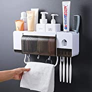 Automatic Toothpaste Dispenser Squeezer Wall Mount and Anti-dust Toothbrush Holder, Multi-Functional Space Saving Toothbrush