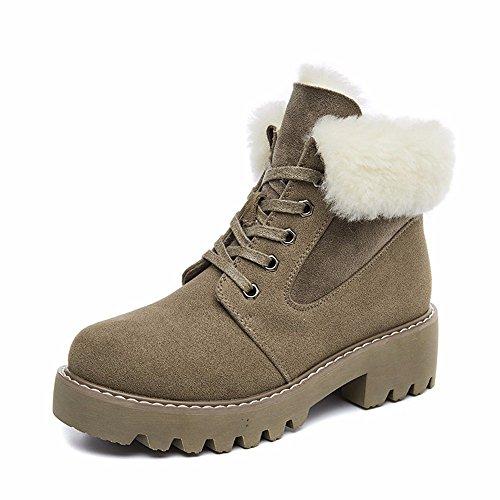 HXVU56546 Herbst Und Winter Neue Schuhe Martin Stiefel Dickes Plus Samt Stiefel Wild Warme Schuhe Aus Baumwolle, 37, Sand Farbe