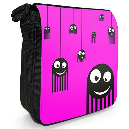 Monster Spiders-Borsa a tracolla in tela, piccola, colore: nero, taglia: S Nero (Pink Monster Spiders)