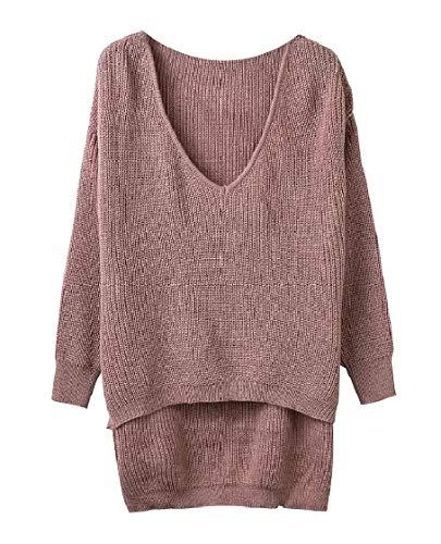 Deep V-neck Knit Top (CuteRose Women Casual Cut Out Shoulder Irregular Deep-V Neck Sweater Top Coffee OS)