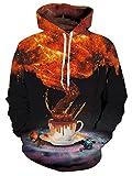 Chicolife Stilvolle Kafe T Digital Schwarz Druck Langarm Taschen Hoodie Hoodies für Jungen Mädchen