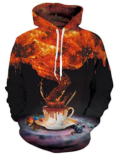 Chicolife kühle Unisex Space Kaffee Entwurf druckte Hipster Schnür Strickjacke Sweatshirt für Mädchen Jungen (Kaffee Zuerst Haben Wir)