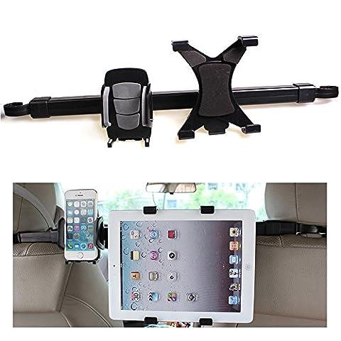 Support voiture d'appuie-tête ezykoo Support appuie-tête voiture 2en 1Siège arrière Tablette et support pour téléphone portable avec rotation 360° réglable pour écrans 17,8–25,4cm pour Apple iPhone iPad/2/3/4/air Tablette Samsung Galaxy Téléphone