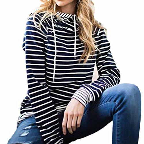 AmazingDays Chemisiers T-Shirts Tops Sweats Blouses,Femme Pull Capuche Sweat-Shirt Capuche Débardeur à Manches Longues Navy