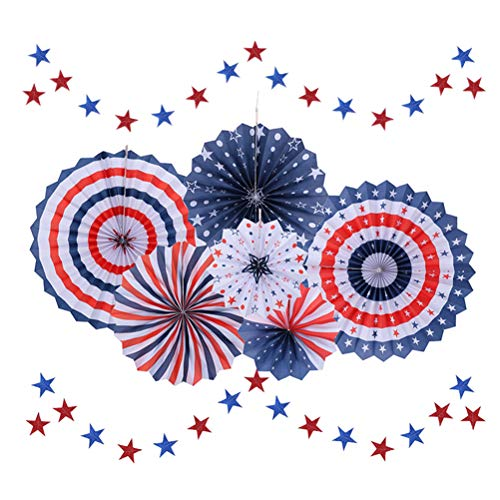 eitstag Party Dekorationen Set Papier Fans hängen Dekorationen 4. Juli Star String Dekorationen für Memorial Day Patriotic Party Supplies ()