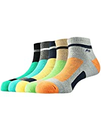 Arrow Men's Combed Cotton Sports Ankle Length Soft Socks (Multicolour, Free Size) - Pack of 5