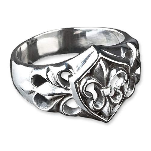 viva adorno Ring Fleur de Lys Lilien Ring Wappen Siegelring 925 Sterlingsilber SR22, Gr. 70