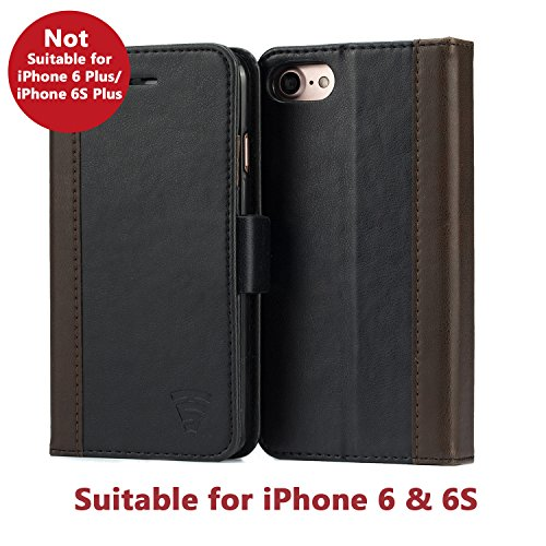 iPhone 6 / 6S Faux Leather, Urban Wallet Case By Tech Sense Lab With Kickstand feature And Card Slots, Military Grade TPU Holder & Effortless Double Magnetic Clasp Flip Case (Black)
