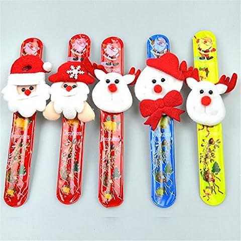Valoxin(TM) 12pcs de Santa mu?eco de nieve de las pulseras de la palmada del anillo de la mano de Pat Decoraci¨®n de Navidad LED adultos de Navidad para ni?os de la palmada Mu?equera anillo de la mano del brazalete de la pulsera