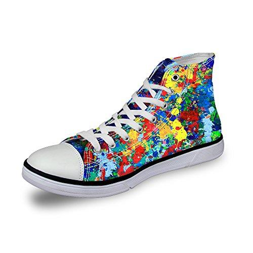 Gopumchy Damen Trendige Graffiti-Kunst High Übergrößen Segeltuchschuhe Canvas Sneaker Canvas Schuh Freizeit Turnschuhe Erwachsene Fitness Sport Schnürer Schuhe C280 EU 40