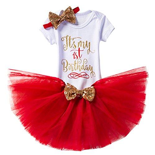 gs Kleinkind Baby Mädchen Ist es Mein 1. / 2. Geburtstags Prinzessin Outfits Spielanzug Rock Tütü Pettiskirt mit Bowknot Stirnband Beinwärmer Partykleid Fotoshooting Kostüm (Cute Little Girl Kostüme)