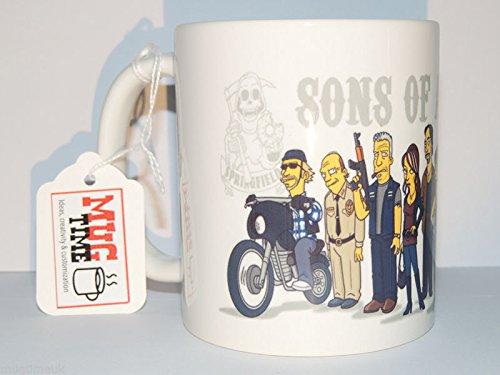 Sons of Anarchy-Simpsons-Moto-MC-taza, diseño de Funny