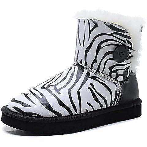 Donna in pelle inverno caldo ispessimento doposci zebrata (Pi?piccolo di una taglia) , zebra stripes , 36
