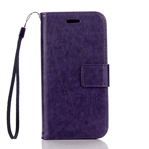 Cozy hut iPhone 7 Hülle Grau,Reine Farbe Premium PU Leder Wallet Case Schutzhülle Hülle Handytasche Skin Schale Soft Backcover Handy Tasche Flip Cover Buchstil Klapptasche in Lederoptik mit Standfunkt Pure Purple