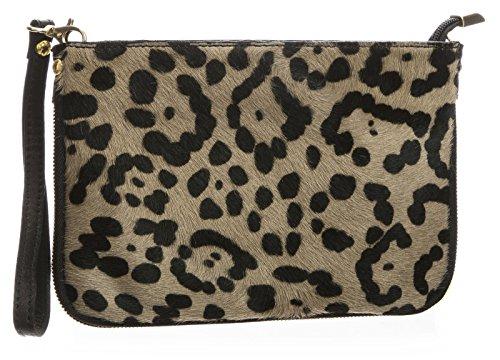 Big borsa Shop piccolo in vera pelle uomo pelliccia Con cerniera frizione borsa a tracolla Jaguar - Taupe