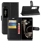 Kihying Hülle für Meizu Pro 7 Plus Hülle Schutzhülle PU Leder Flip Wallet Fashion Geschäft HandyHülle (Schwarz - JFC02)