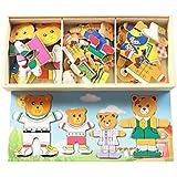 Juguetes educativos de la familia del oso rompecabezas de madera rompecabezas magnético de la primera infancia para los niños de la familia de Vestir (D)