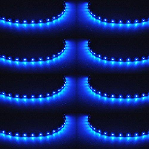 Preisvergleich Produktbild XINBAN LED Neonlichter Streifen Auto 8x 30cm 15SMD LED Auto Innenbeleuchtung Streifen Strip Leiste Lichterkette Wasserdicht 12V [Energieklasse A+] (Blau)