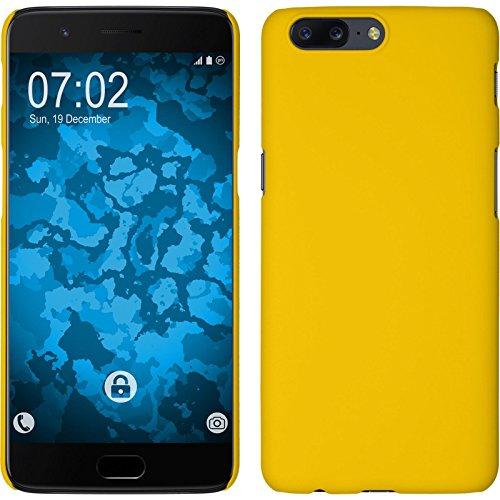 PhoneNatic Case kompatibel mit OnePlus 5 - Hülle gelb gummiert Hard-case + 2 Schutzfolien Gelb Hard Case