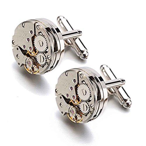 BABAN Deluxe Steampunk Vintage Watch Movement Shape Cufflinks for Men Come In An Elegant Storage Display Box (Upgraded Version)