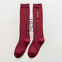 PEMKSAC Calcetines hasta La Rodilla Calcetines A La Rodilla Otoño Invierno Hojas Bordado Calcetines A La Mujer Grueso Calcetines, Rojo