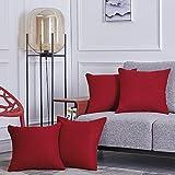 RENMEI Housse de Coussin Rouge 45x45 CM Effet Lin Doux Rectangulaire Decoration de Salon Chambre pour Canapé Sofa Clic Clac Lot de 4