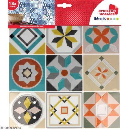 Stickers carreaux de ciment 8 cm - Gris, bleu, vert, orange - 18 carreaux