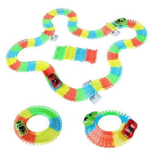 Auto Track Set Glowing Flexible Track mit LED Licht Race Polizei Auto Racing Spielzeug für Kinder Kinder 3 4 5 6 Jahren (Mehrweg)