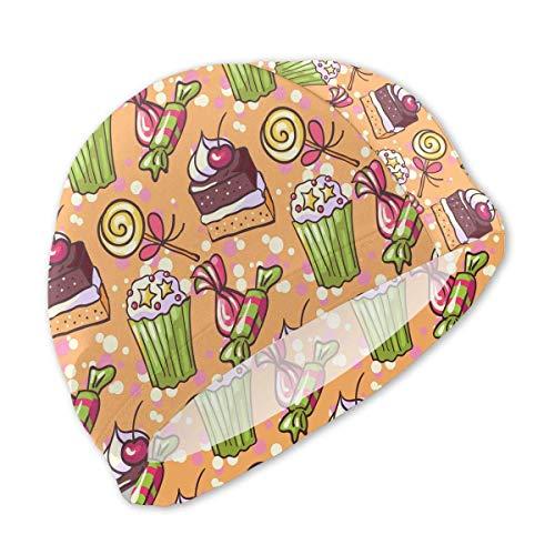 SFHJK Swim Caps Badekappe Cute Candy and Cupcake Lycra Swim Caps Kids Long Hair Swimming Cap for Girls Boys Kids Teens