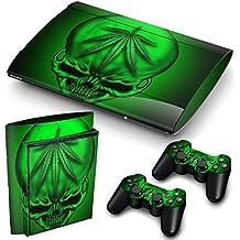 "PS3 Super Slim Playstation Pegatinas de PVC para la Consola + 2 Controladores Decal Protector Arte ''GREEN SKULL"""