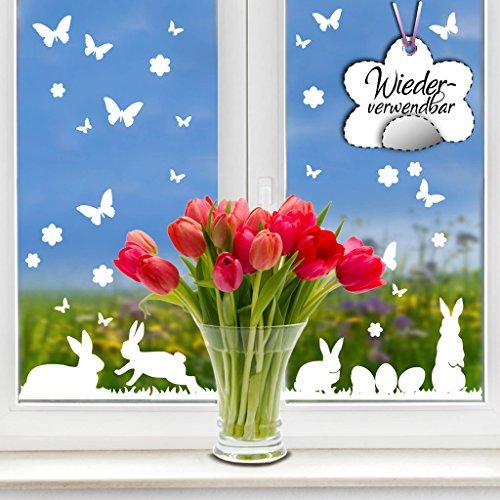 Wandtattoo-Loft Fensteraufkleber Hasen Osterhasen mit Blumen, Ostereiern, Wiese und Schmetterlingen in der Farbe WEIß WIEDERVERWENDBAR / 54 Aufkleber im Set/Fensterbilder Ostermotiv/Fensterdeko Set