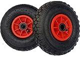Lot de 2 roues gonflables type 3.00-4 (2PR) pour diable, brouette et chariot 260x 85mm
