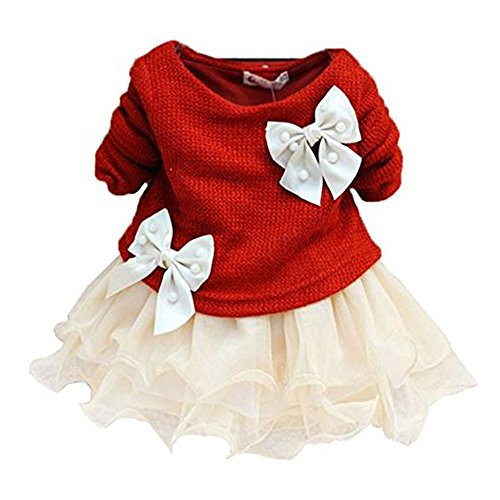 Mädchen (0-24 Monate) Cocktail Kleid Gr. 0-3 Monate, rot (Baby-dress Up Ideen)