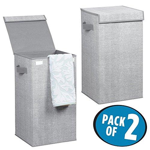 mDesign 2er-Set Wäschetruhe aus atmungsaktivem Polypropylen – Design Wäschekorb für Waschküche, Bad oder Schlafzimmer – faltbare Wäschetonne im Jute-Look mit Deckel und Griffen – grau (Wäschekorb-set)