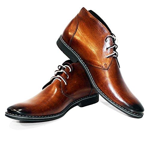 PeppeShoes Modello Buqe - 41 - Handgemachtes Italienisch Bunte Herrenschuhe Lederschuhe Herren Braun Stiefeletten Chukka Stiefel - Rindsleder Handgemalte Leder - Schnüren -