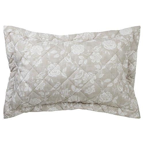 """iLiv Henley Natural Collection de linge de lit de jardin oiseau : 100% coton matelassé Housse décorative Pour oreiller """"Oxford'en Percale Motif Floral"""
